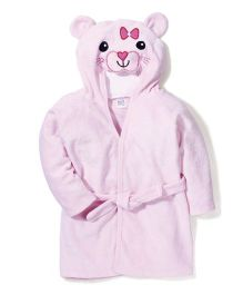 Ben Benny Hooded Bathrobe Cat Design - Pink