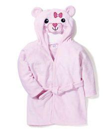 Ben Benny Hooded Bathrobe Cat Design - Pink