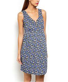 Klick2Style Sleeveless Maternity Dress Floral Print - Blue