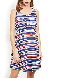 Klick2Style Sleeveless Striped Maternity Dress - Red And Blue