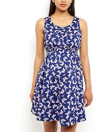 Klick2Style Sleeveless Maternity Dress Butterfly Print - Blue