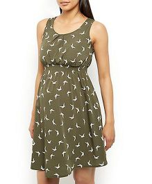 Klick 2 Style Sleeveless Maternity Skater Dress Allover Bird Print - Olive Green