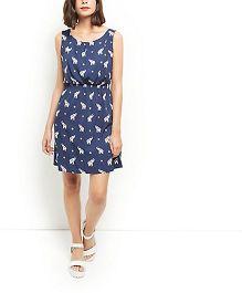 Klick2Style Sleeveless Maternity Elephant Print Shirred Waist Dress - Blue