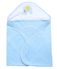 Quick Dry Hooded Towel Elephant Embroidery - Blue