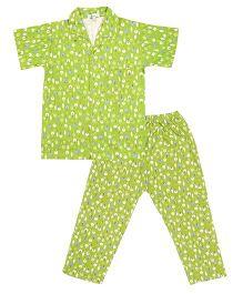 Greenapple Tree Print Night Suit - Green
