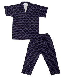 Greenapple Pear Print Night Suit - Dark Blue