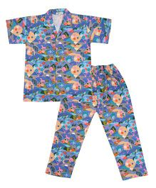 Greenapple Forest Print Night Suit - Blue