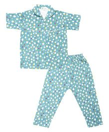 Greenapple Printed Night Suit - Blue