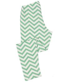 Greenapple Zigzag  Print  Leggings - White & Green
