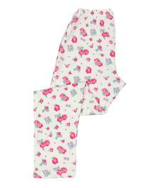 Greenapple Floral Print Leggings - White & Pink