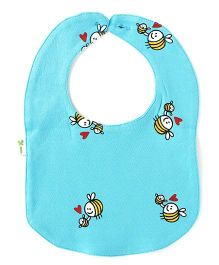 Little Green Kid Mama Bee Print Bib - Blue