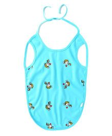 Little Green Kid Mama Bee Print Bib - Blue