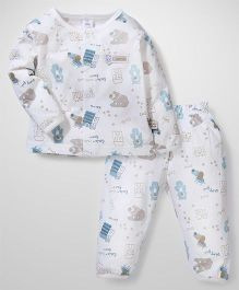 ToffyHouse Front Open Multi Print Night Suit - Off White