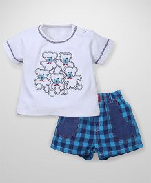 Wow Half Sleeves T-Shirt And Shorts Teddy Print - White Turquoise Blue