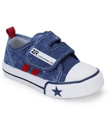 Cute Walk Casual Shoes With Velcro Closure Star Design - Navy