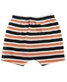 bio kid Striped Elastic Waist Shorts - Orange & Black