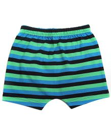 bio kid Striped Elastic Waist Shorts - Green & Black