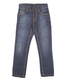bio kid Full Length Stone Wash Style Denim Jeans - Blue