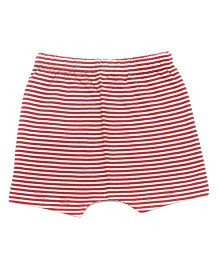 bio kid Striped Elastic Waist Shorts - Off White & Red
