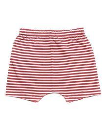 bio kid Striped Elastic Waist Shorts - White & Red