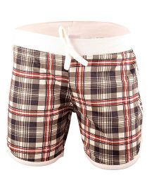 bio kid Sporty Biker Check Shorts - Brown & Cream