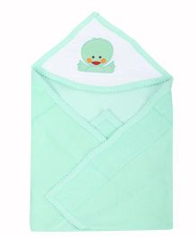 Tinycare Plain Hooded Towel Embroidery - Green