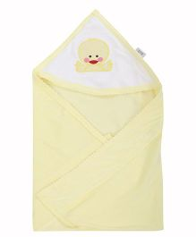 Tinycare Plain Hooded Towel Embroidery - Yellow