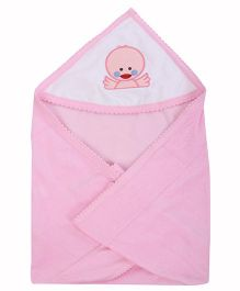 Tinycare Plain Hooded Towel Embroidery - Pink