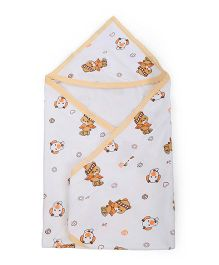 Tinycare Hooded Towel Puppy Print - White