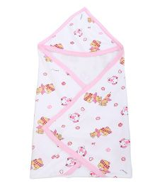 Tinycare Hooded Towel Teddy Print - White Pink
