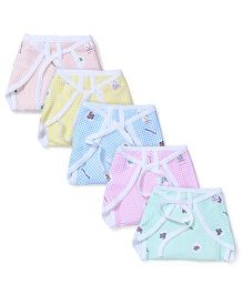 Tinycare String Tie Up Cloth Nappies Checks Print Multicolour - Pack Of 5