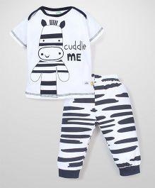 Babyhug Half Sleeves Night Suit Set Zebra Print - White and Black