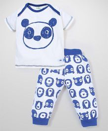 Babyhug Half Sleeves Night Suit Set Panda Print - White and Blue