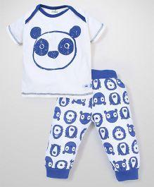 Babyhug Half Sleeves Night Suit Panda Print - White and Blue