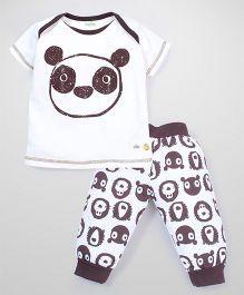 Babyhug Half Sleeves Night Suit Set Panda Print - White and Brown