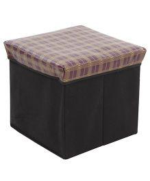 Square Shape Foldable Storage Box Checks Print - Light Magenta And Black