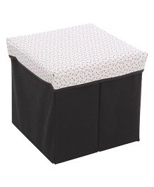Square Shape Foldable Storage Box - White & Black