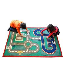 Little Looms Race Track Rug - Green & Blue