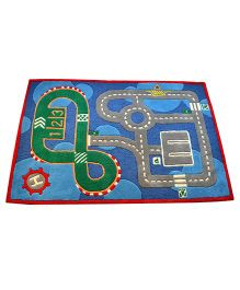 Little Looms Race Track Kids Rug - Blue