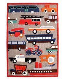 Little Looms Vehicle Print Rug - Multicolour