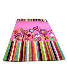Little Looms Floral And Stripes Kids Rug - Pink