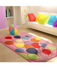 Little Looms Balloon Print Kids Rug - Pink