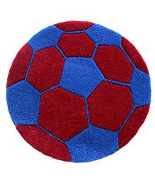 Little Looms Football Rug - Blue & Red