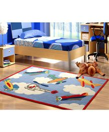 Little Looms Flying Planes Print Rug - Multicolour