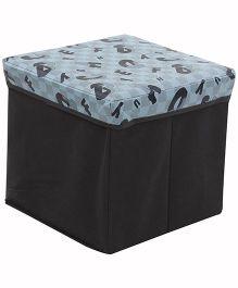 Square Shape Foldable Storage Box Alphabet Print - Blue