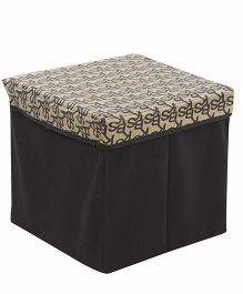 Square Shape Foldable Storage Box Printed - Golden And Black