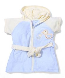 Pink Rabbit Hooded Bird Patched Short Sleeves Bathrobe - Sky Blue
