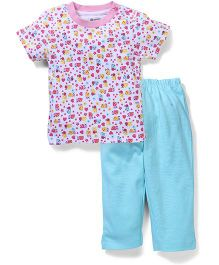OHMS Half Sleeves T-Shirt And Leggings Multi Print - Pink And Aqua