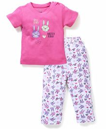 OHMS Half Sleeves T-Shirt And Leggings Bunny Print - Pink And White