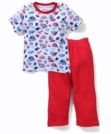 OHMS Half Sleeves T-Shirt And Leggings Multi Print - Red And White